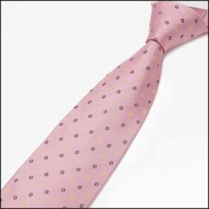 ◇ROMEO GIGLI◇イタリア製ネクタイ◇ピンク◇小紋◇シルク100%◇ロメオジリ メール便可 RMG82