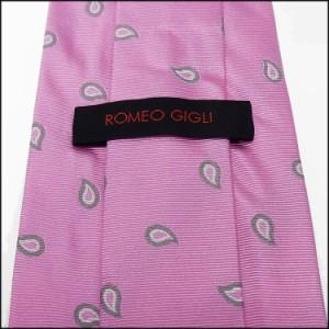 ◇ROMEO GIGLI◇イタリア製ネクタイ◇ピンク◇ペイズリー柄◇シルク100%◇ロメオジリ メール便可 RMG83