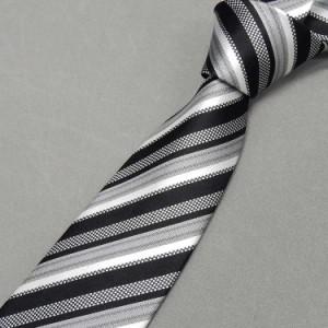 d6469efcf548b 西陣織 モーニング用ネクタイ◇黒×白×銀◇ストライプ◇シルク100%