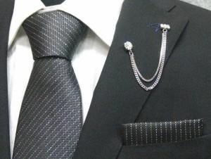 fb39858a0c84d ラメ入りネクタイ ポケットチーフ付▽炭黒▽シルク100%▽日本
