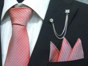 b037c8e30fbdd ラメ入りネクタイ ポケットチーフ付▽ロゼ▽シルク100%▽日本製