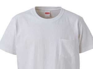 United Athle ジャケット向けインナーシャツ 半袖 白 厚手 胸ポケット 丸首Tシャツ 綿100% UA4253-01WH