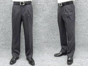 「裾上げ済」 春夏物 2タックパンツ 濃グレー/無地 テトロンウール素材 ウォッシャブル 高級スラックス W70-97cm WL7612-DG