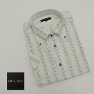 ■ドレスシャツ■COSTA VARIO■半袖■白地×ブルー系/ストライプ■ボタンダウン■日本製■綿100% cos200-1