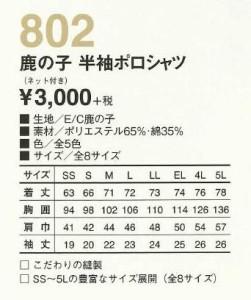 ポロシャツ 半袖 袖裏ネット使用 4L 5L 男女兼用 802 食品・飲食店向け(802kokura-b)