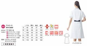 自重堂 ホワイセル ワンピース ナースワンピース 女性用 WH12000 4色 S-4L 2017年新商品(wh12000jic)