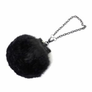 アンテプリマ ANTEPRIMA バッグチャーム ペッリチャエコ  黒 フェイクファー ポンポン リボン ワイヤー(34500)