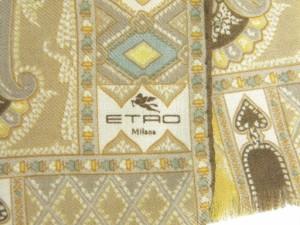 エトロ ETRO スカーフ ストール ペイズリー柄 ブラウン×ベージュ×ブルー ウール70%シルク30%【中古】(37850)