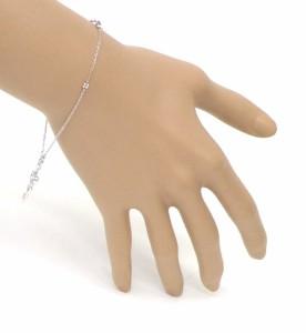 ブレスレット ハートキー 0.01ct フリースライドタイプ ダイヤモンド/ホワイトゴールド/K18WG 総重量3.3g 腕周り20cm 【