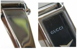 グッチ GUCCI レディースウォッチ 腕時計 クオーツ バングルウォッチ スクエア SS 1500L 黒文字盤 ステンレススチール 【中古】(