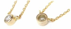 ペンダントネックレス 18金 ダイヤプチネックレス 0.14ct ダイヤモンド/ゴールド/K18YG 総重量2.5g 全長40cm レディ