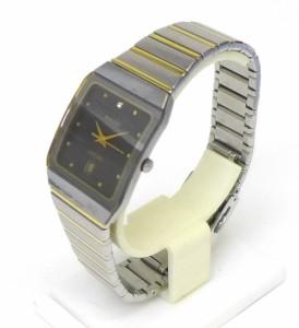 ラドー RADO メンズウォッチ 腕時計 ダイアスター クオーツ 針サビ有 ブラック文字盤×シルバーベルト ステンレス メンズ 【中古】(390