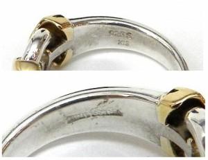 トラサルディー Trussardi 指輪 デザインリング /シルバー、ゴールド/SV925、K18 総重量5.3g 【中古】(39292)