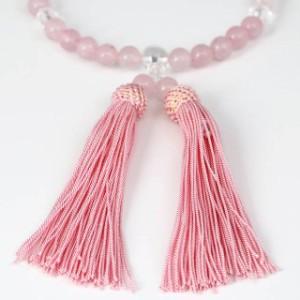 数珠 女性用 紅水晶の数珠 ローズクォーツ(ojyuzu-rose8)