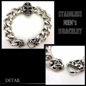 ステンレス ブレスレット メンズ レディース スカル チェーン 腕輪 シルバー アクセサリー(b-stainless-11)