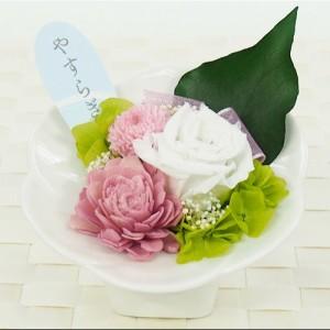 プリザーブド仏花(花器付)SBA-01 枯れないお花 水やり不要 バラ アジサイ ブリザーブドフラワー ブリザードフラワー(17-2529-242