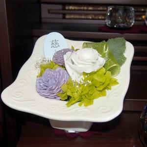 プリザーブド仏花(花器付)SBA-03 枯れないお花 水やり不要 バラ アジサイ ブリザーブドフラワー ブリザードフラワー(17-2529-260