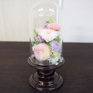 プリザーブドガラスドーム型仏花SBO-02 枯れないお花 水やり不要 花瓶 ブリザーブドフラワー ブリザードフラワー(17-2529-715a)
