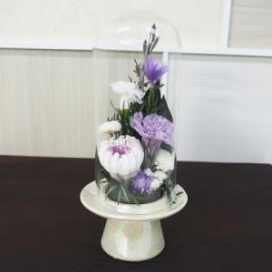 プリザーブドガラスドーム型仏花SBO-04 枯れないお花 水やり不要 花瓶 ブリザーブドフラワー ブリザードフラワー(17-2529-733a)