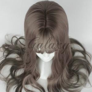 原宿ガール ふわふわ 空気前髪 ロング ブラック 巻き髪 コスプレウィッグ  wig-635a(wig-635a)