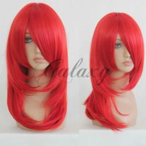 クロスマリア ナルト 香燐 レッド セミロング コスプレ ウィッグ  wig-058c(wig-058c)
