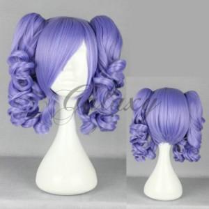 原宿ガール ロリータ パープル ツインテール 巻き髪 コスプレウィッグ  wig-422a(wig-422a)