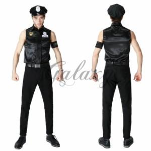 ハロウィン  ポリス 警官 警察 メンズ 男性用 帽子付き ステージ ダンス パーティー イベント コスプレ衣装 ps3093
