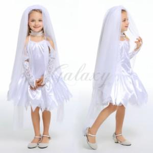 ハロウィン ゾンビ お嫁さん 花嫁 プリンセス 女神 デビル キッズ 子供用 S-XLドレス コスプレ衣装 ps3415(ps3415)