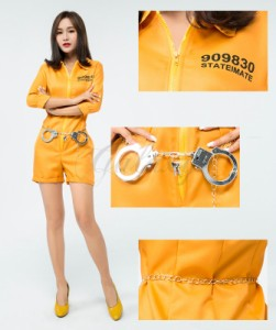 cbfc1fb5302a9 ハロウィン 囚人服 泥棒 犯人 監獄 オレンジ オールインワン 手錠付き コスプレ衣装 ps3491s 即日発送可能