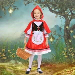 65711b5478c72 ハロウィン 赤ずきん メイド服 童話 ワンピース レッド マント付き キッズ 子供用 S-XL