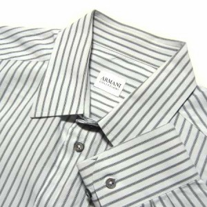 ARMANI COLLEZIONI 定番 ピンストライプカッターシャツ pin stripe cutter shirt (アルマーニ) 036046