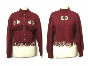 """80's vintage BIGI チロリアンフリンジニットアンサンブル Tyrolean fringe knit ensemble (ビギ) 038033"""