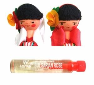 BULGARIA Rose Perfume Wooden doll (ブルガリア ローズ香水入り 木製ハンドメイド人形) 東欧 パルファム マトリョウシカ 059792