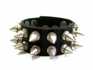 Rockabilly studs leather wristband (ロカビリー スタッズ レザー リストバンド) 063683