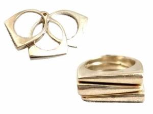 Rockabilly「13」Three silver rings (ロカビリー スリー シルバー リング) 3連 064347