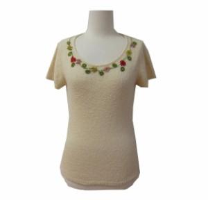 Jocomomola de Sybilla ホコモモラ デ シビラ「40」フラワー刺繍 半袖 ニットセーター 069468