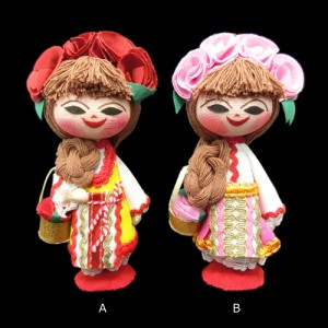【新品】BULGARIA ブルガリア 民族木製 ハンドメイド 人形 (東欧雑貨 マトリョウシカ) 076888