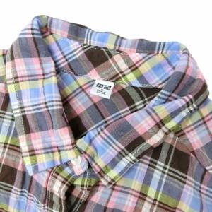 美品 UNIQLO ユニクロ「S」しわ加工 七分袖 チェックブラウス (シャツ ジャケットインナー) 077918