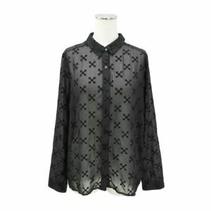 【新品】H&M DIVIDED エイチアンドエム ディバイデッド「34」クロス シースルーシャツ (ブラウス 十字架モノグラム) 082329