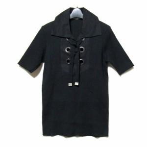 """DIRK BIKKEMBERGS ダークビッケンバーグ「L」イタリア製 レースアップシャツ (Tシャツ 黒) 091903"""