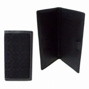 36a03ef4371b 美品 COACH コーチ 2wayシグネチャーモノグラムロングウォレット 手帳カバー (黒 長財布 ケース