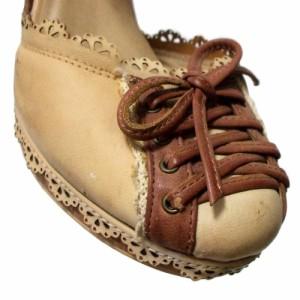 axes femme アクシーズファム「M」レースアップパンプス ヘッドドレス付 (茶色 靴 シューズ ヒール カチューシャ付) 103652