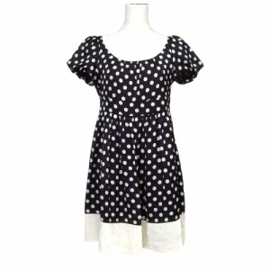 548d00a4b1a38 Lois CRAYON ロイスクレヨン ドットワンピース (黒 水玉 ドレス 半袖) 107038 中古