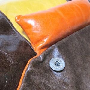 WAKE ウェイク イタリア製 レザーショルダーバッグ (革 皮 茶色 オレンジ) 107289