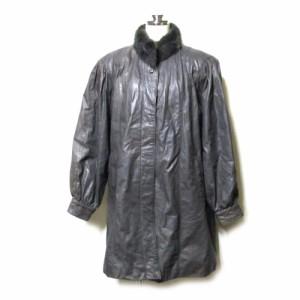 Vintage ヴィンテージ「F」ファー付レザーコート (ジャケット 皮 革 毛皮 リアルファー) 109167