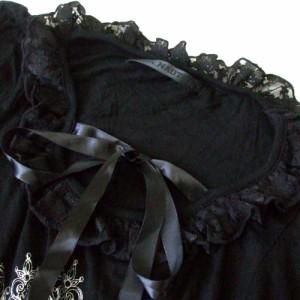 【新品】 h.NAOTO エイチナオト チョーカー付 フリルカットソー (黒 ロンTシャツ ゴスロリ パンク) 109953