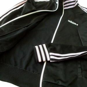 美品 adidas アディダス フルジップトラックジャージジャケット (黒 ライン) 110048