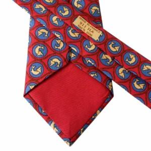 美品 HERMES エルメス フランス製 イルカ柄シルクネクタイ (赤 絹 モノグラム) 110062