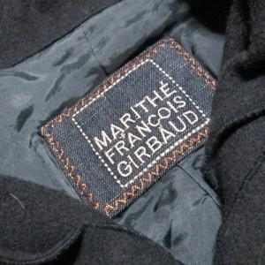 MARITHE FRANCOIS GIRBAUD マリテフランソワジルボー「M」アシンメトリーショールカラージャケット (黒 グレー ウール) 110482