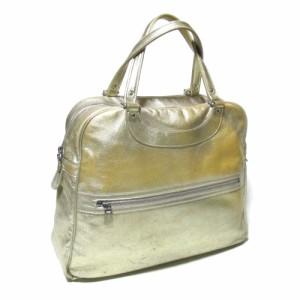 JACQUES LE CORRE ジャック・ル・コー フランス製 ゴールドレザーボストンバッグ (ジャックルコー 金色 革 皮 鞄) 112469